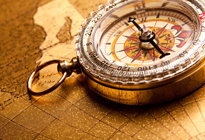 Fototapeta Vintage compass on ancient map 24135