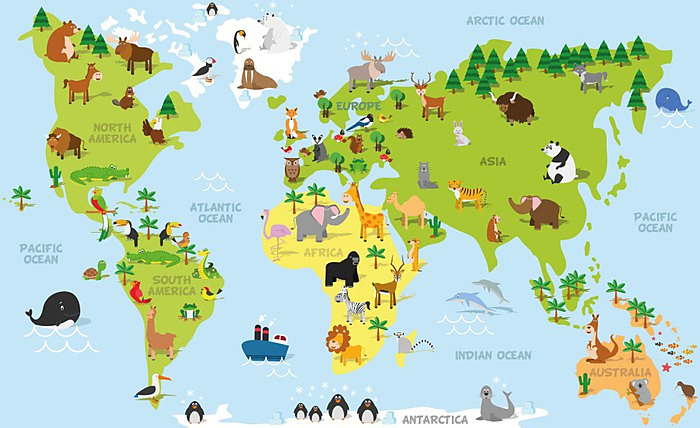 Tapeta Detska Mapa Sveta Se Zviratky 99962679 Tapety Mapy Sveta